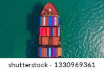 container ship going to deep... | Shutterstock . vector #1330969361