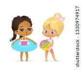 happy afro american caucasian... | Shutterstock .eps vector #1330974917