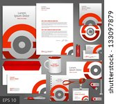 Gray corporate identity template with red round element. Vector company style for brandbook and guideline. EPS 10