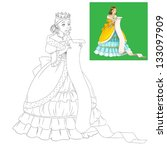 The page with exercises for kids - coloring book - princess - fairy - illustration for the children - stock photo