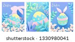 set of easter cards with cute...   Shutterstock .eps vector #1330980041