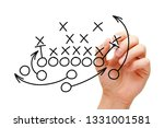 Small photo of Coach drawing american football or rugby game playbook, tactics and strategy with black marker on white background.