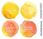 yellow watercolor circle set on ... | Shutterstock .eps vector #1331027537
