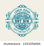 vintage label with gin liquor... | Shutterstock .eps vector #1331056004
