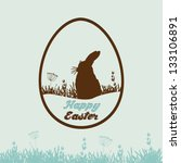 Happy Easter card with rabbit in the shape of egg - stock vector