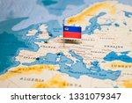 the flag of liechtenstein in... | Shutterstock . vector #1331079347