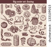 sewing and needlework doodles... | Shutterstock .eps vector #133109015