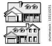 single family house  vector set | Shutterstock .eps vector #133110251