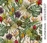 seamless pattern with exotic...   Shutterstock .eps vector #1331125127