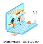 vector isometric e commerce... | Shutterstock .eps vector #1331127554