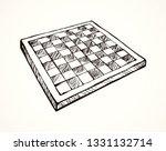 empty old chess  board dark... | Shutterstock .eps vector #1331132714
