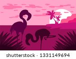 landscape with flamingo... | Shutterstock .eps vector #1331149694