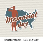 memorial day card over beige... | Shutterstock .eps vector #133115939