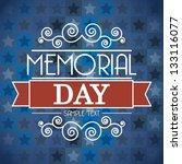 memorial day card over blue... | Shutterstock .eps vector #133116077