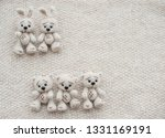 two knitted white bunnies and... | Shutterstock . vector #1331169191