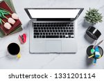 flat lay  top view office table ... | Shutterstock . vector #1331201114