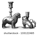 bronze candleholders with...