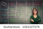 young teacher wearing glasses ...   Shutterstock . vector #1331227274
