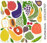 hand drawn stylized fruit and... | Shutterstock .eps vector #1331235707