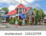 QUEBEC,CA- JUNE 09: Quebec Town Architecture on June 09 , 2010 in Quebec,CA. Famous Sainte-Agathe-des-Monts,a town in the province of Quebec,and many people come to visit , and go shopping every year. - stock photo