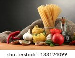 pasta spaghetti  vegetables and ... | Shutterstock . vector #133124099