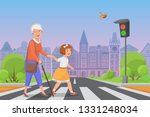 girl helps old lady to cross... | Shutterstock .eps vector #1331248034