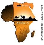 egypt on the map of africa | Shutterstock .eps vector #133127495