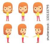 set of funny cartoon girl | Shutterstock .eps vector #133133795