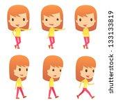 set of funny cartoon girl | Shutterstock .eps vector #133133819