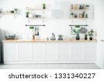 bright kitchen with wooden top | Shutterstock . vector #1331340227