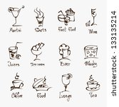 cafe menu hand draw icons on... | Shutterstock .eps vector #133135214