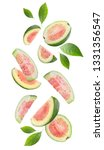 Falling Guava Fruits Isolated...