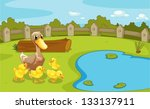 Illustration Of The Ducks Near...