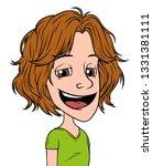 cartoon brunette long haired... | Shutterstock .eps vector #1331381111