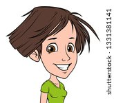 cartoon brunette funny cheerful ... | Shutterstock .eps vector #1331381141