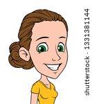 cartoon brunette funny smiling... | Shutterstock .eps vector #1331381144