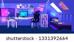 gamer boy room on attic... | Shutterstock .eps vector #1331392664