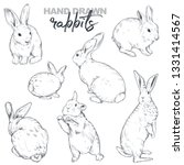 Stock vector vector collection of hand drawn rabbits realistic sketch animals easter set 1331414567