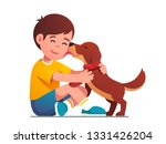 Stock vector adorable puppy dog licking kids face happy child hugging and petting domestic animal smiling boy 1331426204