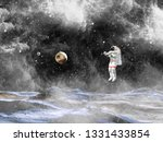 spaceman in a spacesuit in... | Shutterstock . vector #1331433854