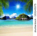 beautiful beach and tropical sea | Shutterstock . vector #133145375