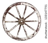 Old Wooden Cart Wheel With...