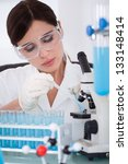 young female scientist... | Shutterstock . vector #133148414