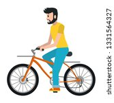 man riding bicycle cartoon | Shutterstock .eps vector #1331564327