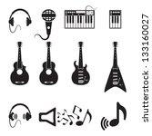set of vector black music icons ... | Shutterstock .eps vector #133160027