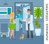 veterinary office flat vector... | Shutterstock .eps vector #1331619341