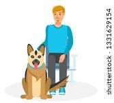 man with german shepherd flat... | Shutterstock .eps vector #1331629154