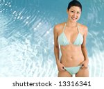 Beautiful Asian Bikini model. - stock photo