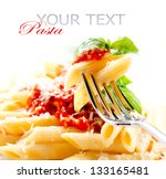 pasta. penne pasta with... | Shutterstock . vector #133165481