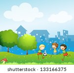 illustration of the three kids... | Shutterstock .eps vector #133166375